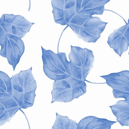 Floral seamless pattern with blue watercolor leaves