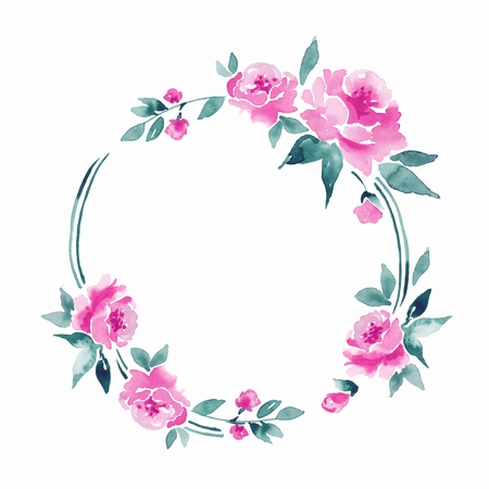 Watercolor floral frame 8 Stock Photo