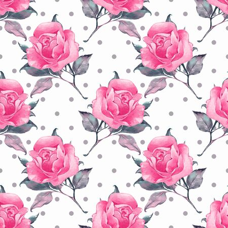 Floral seamless pattern with roses 4 Stock Photo