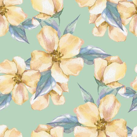 Floral seamless pattern with yellow flowers 2