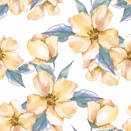 Floral seamless pattern. Watercolor background with yellow flowers Stock Photo