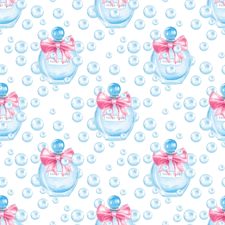 Seamless pattern with bottle of perfume and babbles. Watercolor illustration