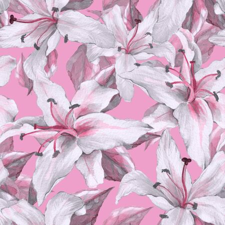 Pattern with lilies. Floral seamless background with white flowers. Stock Photo