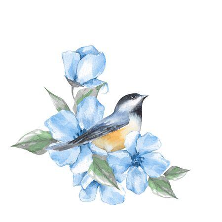 Pájaro y flores. Pintura de acuarela