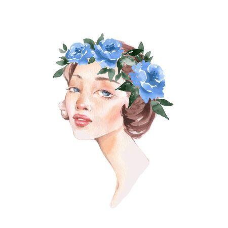 Girl in wreath. Romantic watercolor illustration