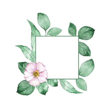 Watercolor floral frame. Element for design Stock Photo