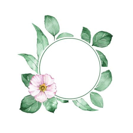 Watercolor floral frame. Background with white flower Stock Photo