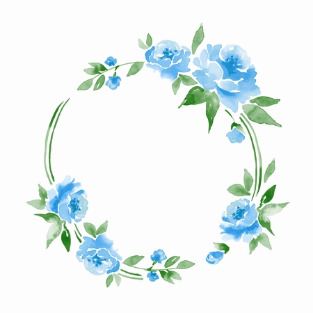 Watercolor floral frame. Watercolor background with blue flowers Stock Photo