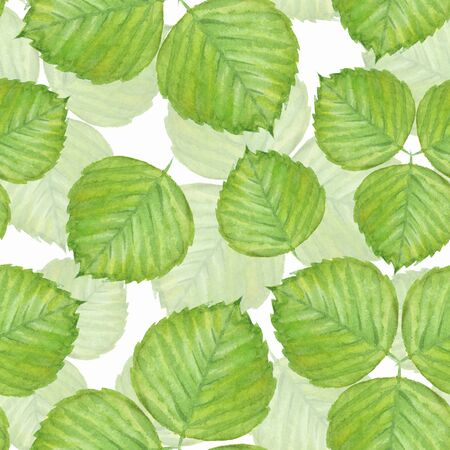 Seamless pattern with green watercolor leaves