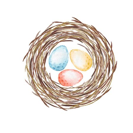 Birds nest with eggs. Watercolor illustration for Easter Imagens - 95402841