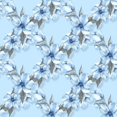 Floral seamless pattern with blue flowers 4 Stock Photo