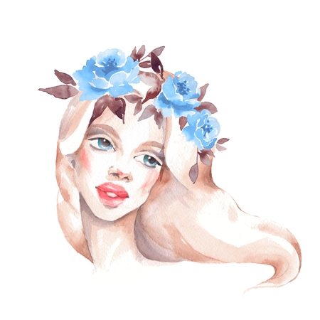 Girl in wreath. Romantic watercolor illustration. Female face, watercolor painting Stock Photo