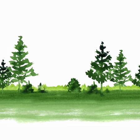 Landscape with simple summer trees. Seamless border. Watercolor pattern