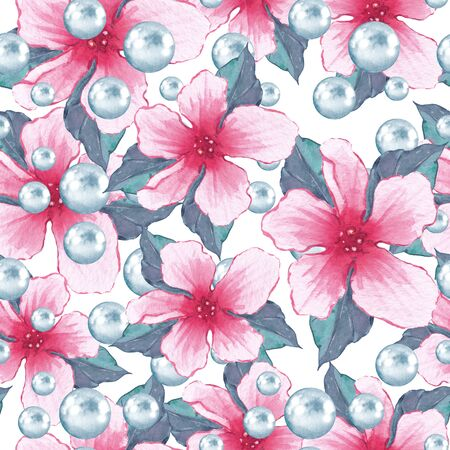 Watercolor floral seamless pattern 2. Flowers and pearls Stock Photo