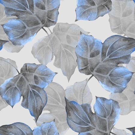 Floral pattern. Seamless background with blue leaves