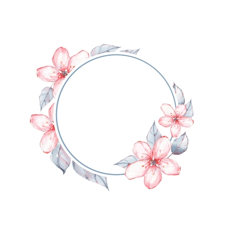 Watercolor floral frame. Background with delicate flowers Stock Photo