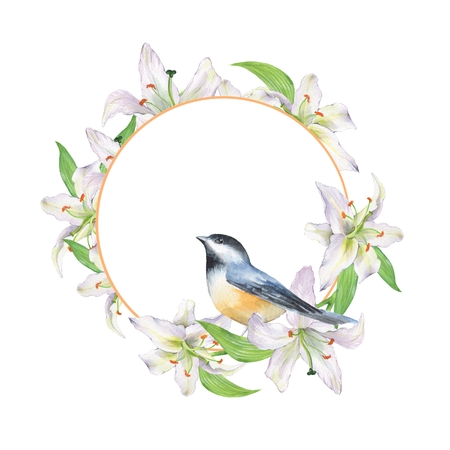 Bird and floral wreath. Watercolor painting Stock Photo