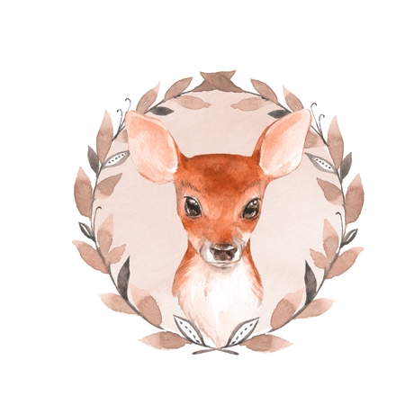 Baby Deer and wreath. Hand drawn cute fawn