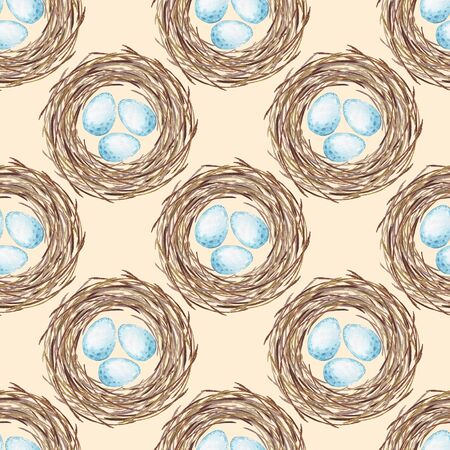 Birds nest with eggs. Seamless pattern 写真素材