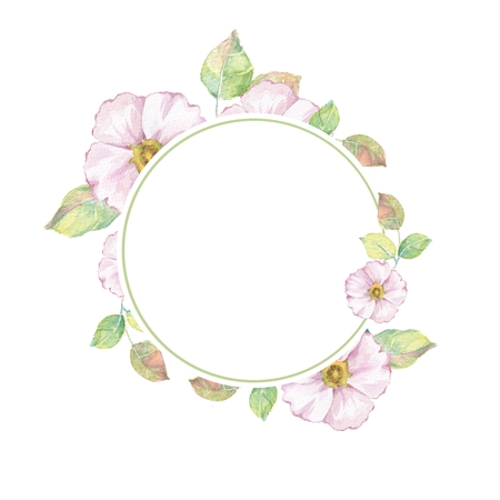 Watercolor floral frame 3. Watercolor background with delicate flowers