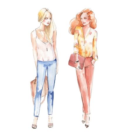 Street fashion. Girls. Watercolor illustration