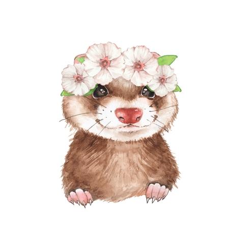 Cute ferret in wreath. Watercolor illustration Zdjęcie Seryjne