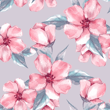 Floral seamless pattern 4. Watercolor background with pink flowers Stock Photo