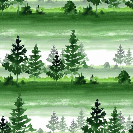 Seamless pattern with forest. Watercolor landscape Stock Photo