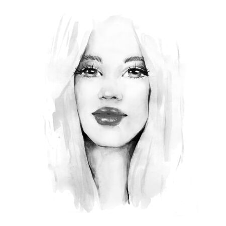 Beautiful girl. Female face, black and white watercolor illustration