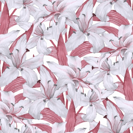 Pattern with lilies. Floral seamless watercolor background with white flowers 4 Stock Photo