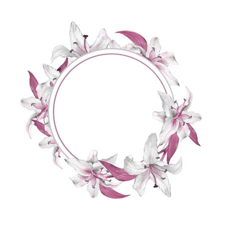 Watercolor floral frame. Watercolor background with lilies 3