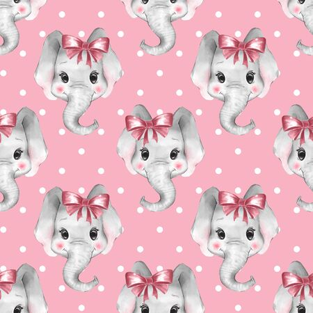 Seamless pattern with elephants. Cute cartoon background