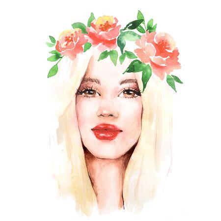 Beautiful girl in wreath. Female face, watercolor illustration