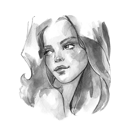 Beautiful girl with long hair, watercolor sketch.  Stock Photo