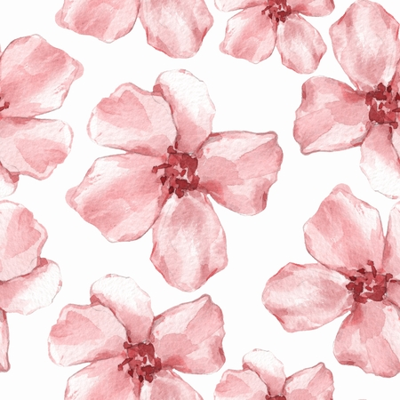 Floral seamless pattern. Watercolor background with delicate red flowers