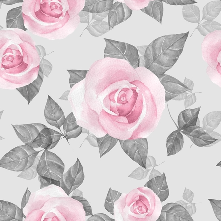 Delicate roses. Hand drawn watercolor floral seamless pattern 2