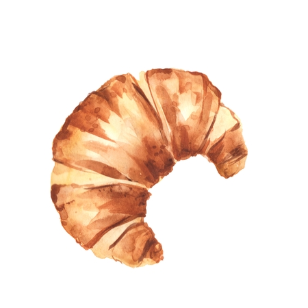 Traditional french croissant, isolated on white background. Watercolor illustration