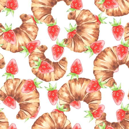 French croissant and strawberry. Watercolor seamless pattern Stock Photo - 101195759