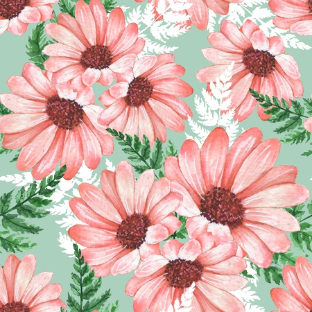 Floral seamless pattern with chrysantemums. Watercolor flowers.
