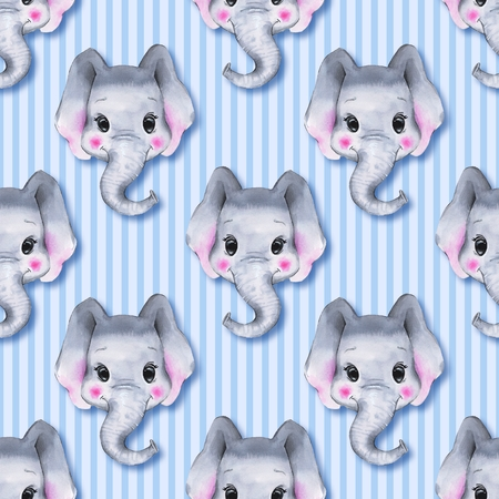 Seamless pattern with elephants. Cute cartoon background 1