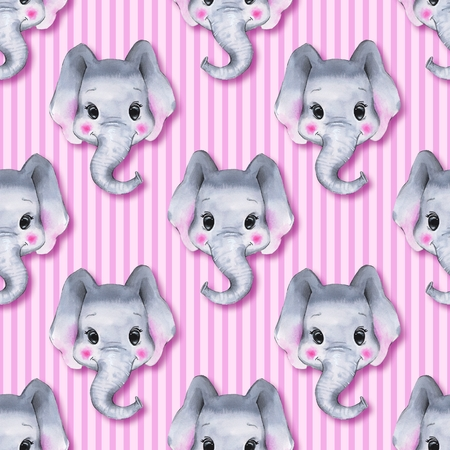 Seamless pattern with elephants. Cute cartoon background 2