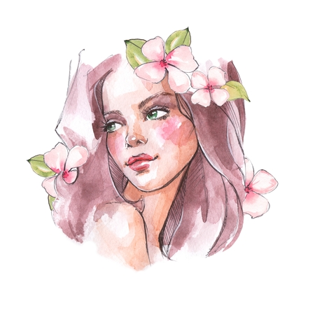 Beautiful girl with long hair and flowers, watercolor sketch.