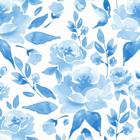 Floral seamless pattern. Watercolor background with flowers and leaves