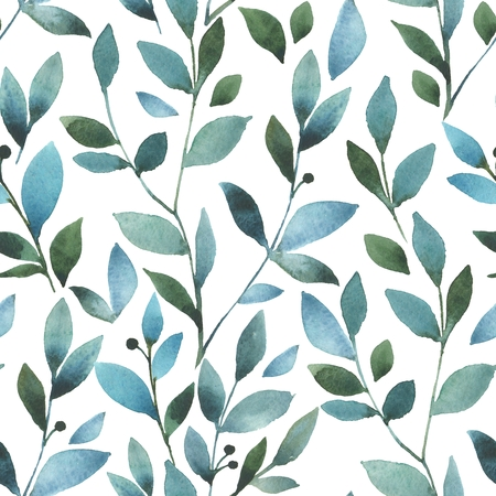 Floral pattern. Seamless background with watercolor Branch and leaves Stock Photo