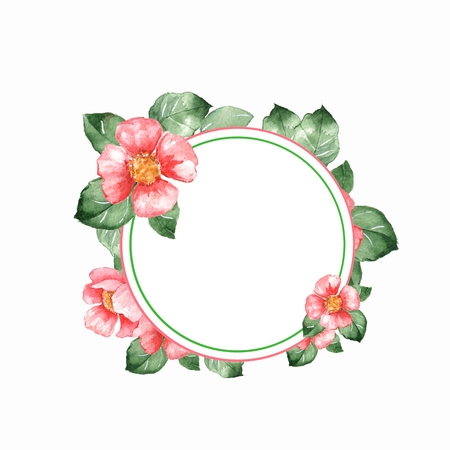 Watercolor floral frame 2. Element for design. Background with red flowers