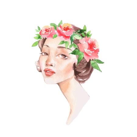 Beautiful woman in wreath. Watercolor female face. Stock Photo