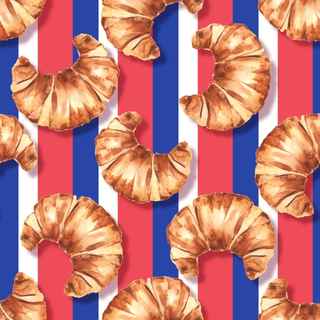 French croissant. Watercolor seamless pattern 1