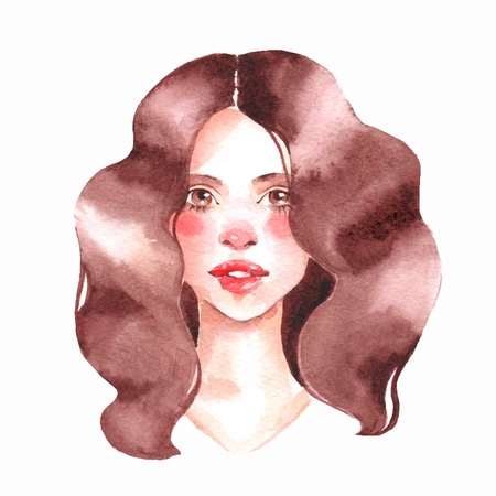 Girl. Watercolor female face, watercolor painting Stock Photo