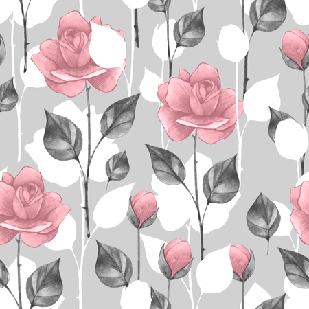 Floral seamless pattern. Watercolor background with roses Stock Photo