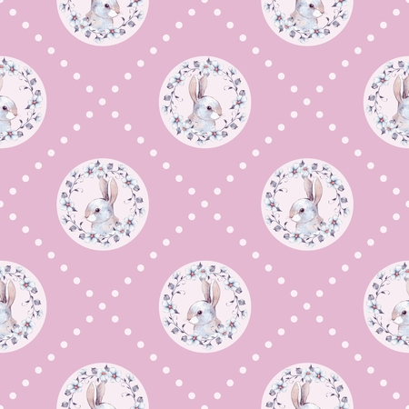 White rabbit and flowers. Watercolor seamless vintage pattern Stock Photo - 103995280
